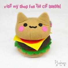 Cheeseburger Plüschtier Hamburger Sandwich Neuheit von Plusheez