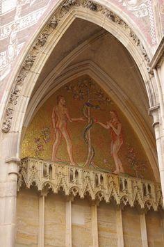 Adam and Eve mosaic, St. Vitus Cathedral, Prague