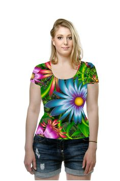 A beautiful garden of colorful fractal flowers.  Original fractal created using UltraFractal 5 by Wolfepaw (Peggi Wolfe), OArtTee specializes in creating amazing, vibrant and colorful Wearable Art.