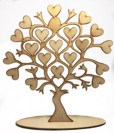 Laser Cut MDF Tree of hearts, ready to paint and decorate. Tree H12 x W11 in. Base 9.5 x 2.5 in.