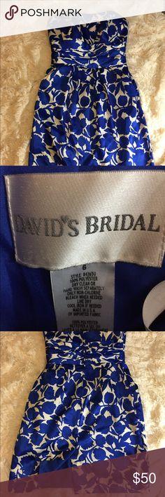 David's Bridal Strapless Cocktail Dress David's Bridal Cocktail Dress with pockets.  Blue/white.  Size 6.  Approx measurements pit to pit 15.5, length 28.5.  No flaws.  EUC.  Loc E 101 David's Bridal Dresses Midi