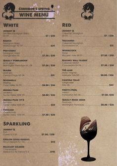 Corridor- wine menu. front and back