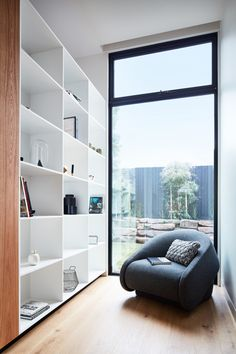 An Uplight Chair by Prostoria gives sitters the option to transform the chair into a comfy bed. With a view of the outdoors and bookshelves built for the curious, the space seems a perfect fit for a sleepy Sunday afternoon.
