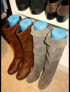 Use Pool Noodles To Hold Your Boots Upright