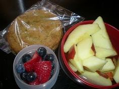 great snacks for long car rides. Apples don't turn brown in water, small containers of fresh fruit and my homemade Nutter Butter cookies