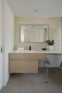 This could work too-one sink and dressing table. Natural Interior, Simple Interior, Interior Design, Room Interior, Laundry In Bathroom, Washroom, Living Room Designs, Living Spaces, Bathroom Inspiration