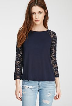 Floral Lace Raglan Top   Forever 21 - 2000078729