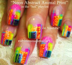 "Nail-art by Robin Moses: ""summer nails"" ""geometric nail art"" ""abstract nail art"" ""blue and silver nails"" ""nail art"" ""neon animal print nails"" ""abstract nails"" ""lip prints"" ""kiss nails"" ""lip kisses"" ""rainbow neon"" print design tutorial how-to ""do it yourself"" summer hot vacation ""sexy nail art"" ""crazy nail design"""