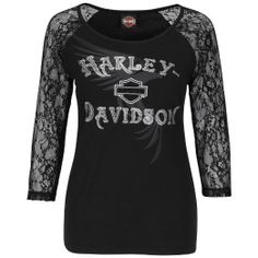 Amazon.com: Harley-Davidson Womens Lace Vessel Open Neck Black 3/4 Sleeve T-Shirt: Clothing