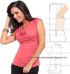 Fashion Skabeloner the Mål: transformation of BLUSE Diy Clothing, Clothing Patterns, Dress Patterns, Diy Couture, Couture Sewing, Fashion Sewing, Diy Fashion, Costura Fashion, Sewing Blouses