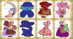 Sunbonnet dolls set of 10 set2 applique by 4everkeepitsewunique
