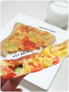 三色蔬菜烘蛋土司盒 vegetable frittata toast box