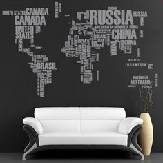 Wall Decal  World Map with Country names for par decalSticker, $133.00