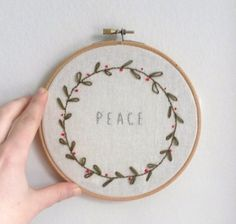 Embroidery Hoop PEACE Christmas wreath by kitsnbits on Etsy, £22.00