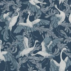 The wallpaper Dancing Crane Special Edition - 4583 from Engblad & Co is a wallpaper with the dimensions x m. The wallpaper Dancing Crane Special E Swedish Wallpaper, More Wallpaper, Wallpaper Samples, Pattern Wallpaper, High Quality Wallpapers, Blue Wallpapers, Modern Spaces, Nocturne, Scandinavian Style