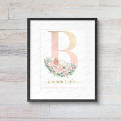 DIGITAL PRINT Floral Glitter Initial Print, A, Personalized Monogram, Custom Letter Print, Nursery Decor, Baby Name Art, Nursery Art Nursery Art, Nursery Decor, Baby Name Art, Textured Canvas Art, Personalized Graduation Gifts, Artwork Prints, Online Printing, Digital Prints, Initials