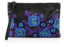 Christopher Kane #Embroidered Leather Wristlet #Clutch #blue #purple #black #floral #flowers