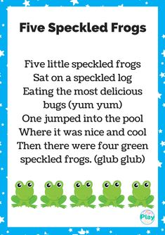 Five Speckled Frogs Printable And Activity Ideas - Craft Play Learn By The Inspiration Edit Free Nursery Rhymes, Nursery Rhymes Lyrics, Nursery Rhymes Songs, Frogs Preschool, Preschool Songs, April Preschool, Kindergarten Songs, Preschool Class, Songs For Toddlers