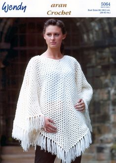 Buy from an amazing range of poncho knitting patterns. Choose Deramores for poncho patterns that are suitable for craftspeople of all ages and abilities. Crochet Poncho Patterns, Knitted Poncho, Crochet Shawl, Crochet Yarn, Crochet Hooks, Free Crochet, Knitting Patterns, Simply Crochet, Poncho Cape