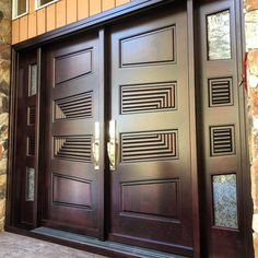 Custom wood doors, whether elegant or rustic, are a durable choice that can really set off the style of your home. With the latest custom exterior door design technology, your custom made doors can be a perfect fit for your… Continue Reading → Wooden Double Doors, Door Design Interior, Wood Front Doors, Wood Doors, Doors Interior, Double Door Design, Garage Door Design, Front Door Design