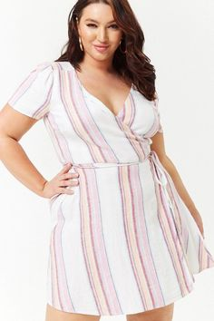 Plus size striped linen cami dress forever 21 Summer Fashion For Teens, Summer Fashion Trends, Summer Fashion Outfits, Summer Trends, Dress Plus Size, Plus Size Jeans, Plus Size Outfits, Curvy Fashion, Plus Size Fashion