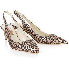 RUPERT SANDERSON Felika Kitten Heel Slingbacks ($193) ❤ liked on Polyvore