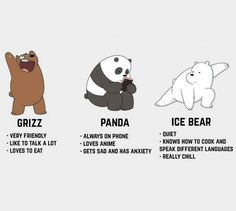 We Bare Bears: Grizz, Panda, Ice bear Ice Bear We Bare Bears, 3 Bears, Cute Bears, Panda Bears, The Bear, Panda Panda, We Bare Bears Wallpapers, Panda Wallpapers, Cute Cartoon Wallpapers