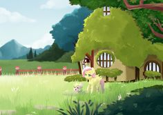 So here fluttershy just got Annie and Annie is exploring the outside of the cottage it's really cute story and you should read the rest