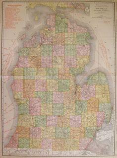 1914 Beautiful RARE MICHIGAN Map of Michigan w Railroads Rare Size Map 3323