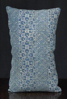 Tribal decorative lumbar pillow Hmong indigo gray batik