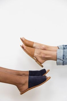 Aiko Basic Slides - Tan Yuka Slides - Navy The Best of fashion in 2017.