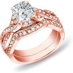 Auriya 14k Rose Gold 1ct TDW Cushion Diamond Bridal Ring Set ($1,441) ❤ liked on Polyvore featuring jewelry, rings, rose gold engagement rings, rose wedding ring, pave engagement rings, round engagement rings and rose gold diamond ring