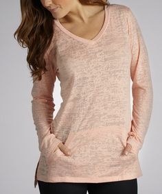 Take a look at this Peach Cool Factor Burnout Tunic by Marika on #zulily today!