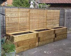 Raised bed projects with Railway sleepers Tall Wooden Planters, Bamboo Planter, Deck Planters, Privacy Planter, Herb Garden Design, Garden Landscape Design, Small Garden Design, Raised Garden Beds, Raised Beds