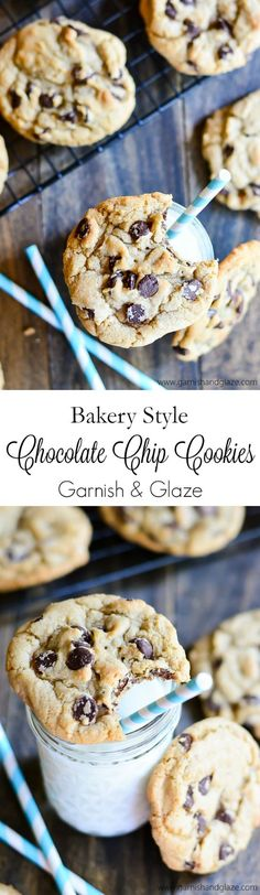 The BEST Bakery Style Chocolate Chip Cookies that are crisp on the outside, chewy on the inside, have a deep rich flavor, and don't require you to refrigerate the dough.