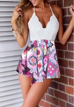 White Spaghetti Strap Backless Print Mini Dress