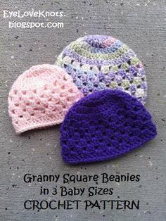 EyeLoveKnots: UPDATED! Granny Square Beanie in 3 Baby Sizes - Free Crochet Pattern ~~ www.pinterest.com/dreamlockets