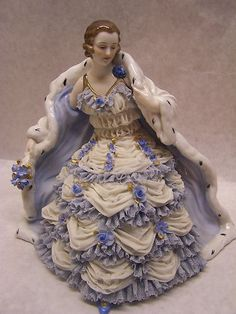 Beautiful Vintage Muller Volkstedt Porcelain Lace Figurine Seated Woman in Gown | eBay