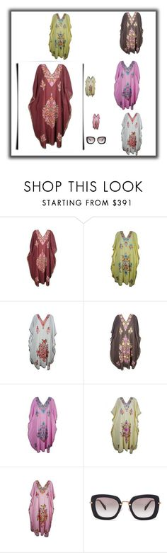 """Kashmiri Cover Up Kimono Sleeves Caftan"" by era-chandok ❤ liked on Polyvore featuring Miu Miu, SleevesCaftan, UpKimono and KashmiriCover"