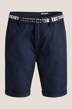 EDC / Katoenen/linnen short met riem