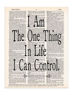 One Thing in Life I Can Control - Hamilton Quote - Dictionary Print