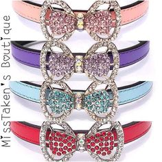 """✿+These+collars+are+for+fashion+purposes+only.+Do+not+leave+your+pet+unattended+and+always+supervise+your+pet+when+wearing+any+accessories+✿  Condition:+Brand+New  Size+X-Small:+Neck+7-9""""+(17cm-22cm) Width+0.4""""+(1.0cm)+Total+Length+10""""+(25cm)  Size+Small:+Neck+9-11""""+(22+-28cm) Width+0.4""""+..."""