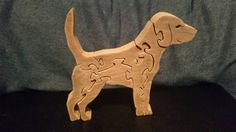 Hand made wooden beagle dog puzzle for children or adults