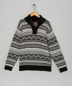Look what I found on #zulily! Deep Black Fair Isle Sweater - Boys #zulilyfinds
