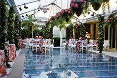 Pool cover.... Backyard wedding