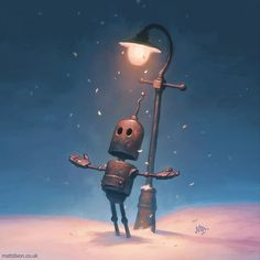 'Snow Day' Probably my last post this year. I'm off to hibernate for a while. A new book of robot art coming to Kickstarter early in the new year. #robot #robots #snow #snowy #light #lamp