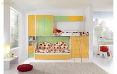 Prezzo: € 799  Soppalco Roller struttura bianco, ante verde mela e giallo limone  Dimensioni: L.349 P.96 H.255