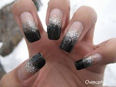 New Year's Bling Silver & Black Sponging + Tutorial