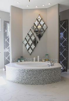 Beautiful model home tour. soaking tub, and walk through shower. See the whole house at. House Bathroom, Luxury Bathtub, Bathroom Interior Design, Home, Walk Through Shower, Modern Interior Design, Bathrooms Remodel, Bathroom Decor, Beautiful Bathrooms
