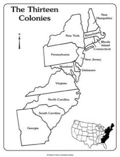 Maps of the Thirteen Colonies (Blank and Labeled) - Map of The Thirteen Colonies with Labels - American History Lessons, World History Lessons, History Education, Teaching History, 3rd Grade Social Studies, Social Studies Notebook, Teaching Social Studies, Teaching Maps, Student Teaching